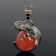 Natural-Gemstone-Round-Ball-Reiki-Chakra-Healing-Lizard-Pendant-Necklace-Beads-262739138496-76e1