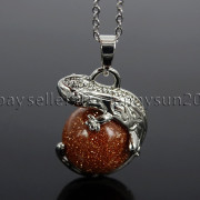Natural-Gemstone-Round-Ball-Reiki-Chakra-Healing-Lizard-Pendant-Necklace-Beads-262739138496-b92e