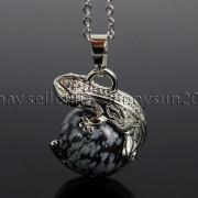 Natural-Gemstone-Round-Ball-Reiki-Chakra-Healing-Lizard-Pendant-Necklace-Beads-262739138496-e630