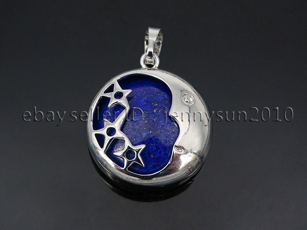 Natural gemstone round silver plated stars and moon pendant charm natural gemstone round silver plated stars and moon aloadofball Images