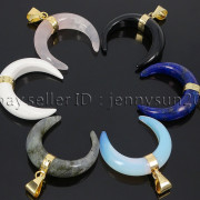 Natural-Gemstones-Gold-Plated-Crescent-Moon-Pendant-Charm-Beads-Healing-282290274301