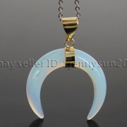 Natural-Gemstones-Gold-Plated-Crescent-Moon-Pendant-Charm-Beads-Healing-282290274301-a37d