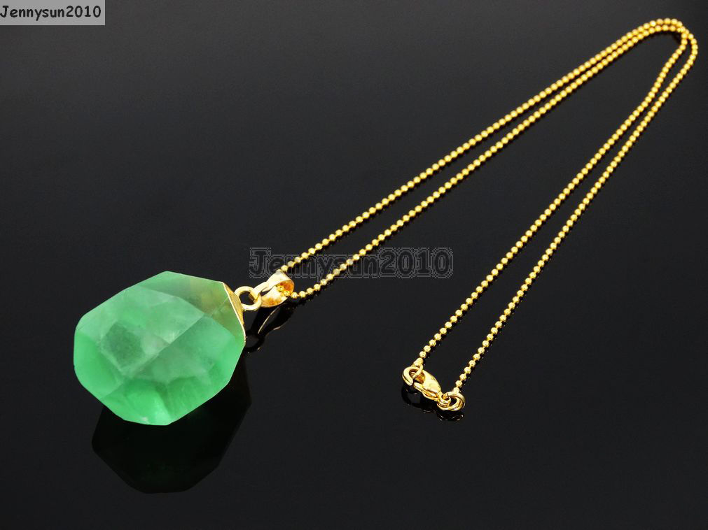 Natural Green Fluorite Gemstone Oval Octagonal Pendant