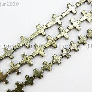 Natural-Grey-Silver-Pyrite-Gemstone-Cross-Spacer-Beads-16-Strand-8mm-10mm-15mm-281902567767