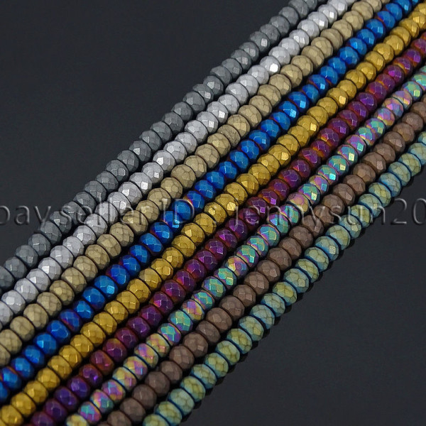 Natural-Matte-Hematite-Gemstones-2mm-x-3mm-Faceted-Rondelle-Loose-Beads-16-282281927897