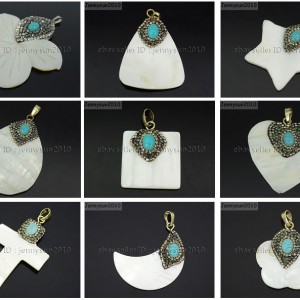 Natural-Mother-Of-Pearl-Shell-Turquoise-Crystal-Rhinestones-Pendant-Charm-Beads-371583221228