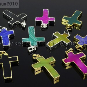 Natural-Multi-Colored-Agate-Sliced-Cross-Healing-Pendant-Charm-Beads-Gold-Silver-262303195896