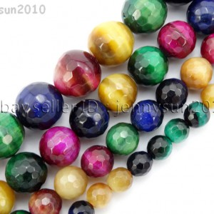 Natural-Multi-Colored-Tigers-Eye-Gemstone-Faceted-Round-Spacer-Beads-15-371577214467