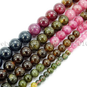 Natural-Multi-Colored-Tourmaline-Gemstone-Round-Spacer-Beads-15-4mm-6mm-8mm-282372758407-2