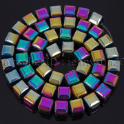 Natural-Non-Magnetic-Hematite-Gemstone-8mm-Faceted-Cube-Square-Loose-Beads-16quot-262749794720-23fd