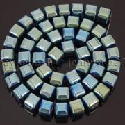 Natural-Non-Magnetic-Hematite-Gemstone-8mm-Faceted-Cube-Square-Loose-Beads-16quot-262749794720-bdcc