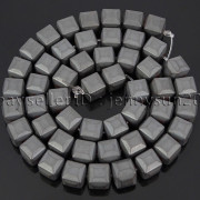 Natural-Non-Magnetic-Hematite-Gemstone-8mm-Faceted-Cube-Square-Loose-Beads-16quot-262749794720-dd92
