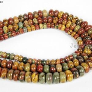 Natural-Picasso-Jasper-Gemstone-Rondelle-Beads-16-4mm-x-6mm-5mmx-8mm-6mmx-10mm-261352027077