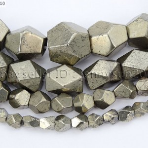 Natural-Pyrite-Gemstone-Freeform-Faceted-polygonal-Beads-155-6mm-8mm-10mm-371339083335
