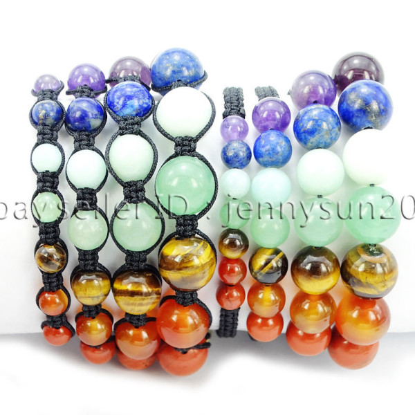 Natural-Reiki-Chakra-Gemstones-Round-Beads-Handmade-Adjustable-Bracelet-Healing-262784805350