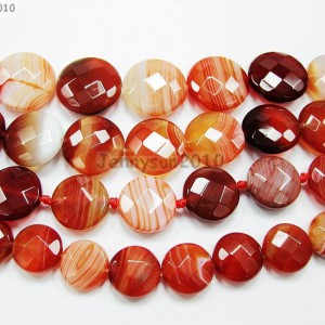 Red-Carnelian-Natural-Agate-Gemstone-Faceted-Round-Coin-Loose-Beads-15-Strand-370889122039