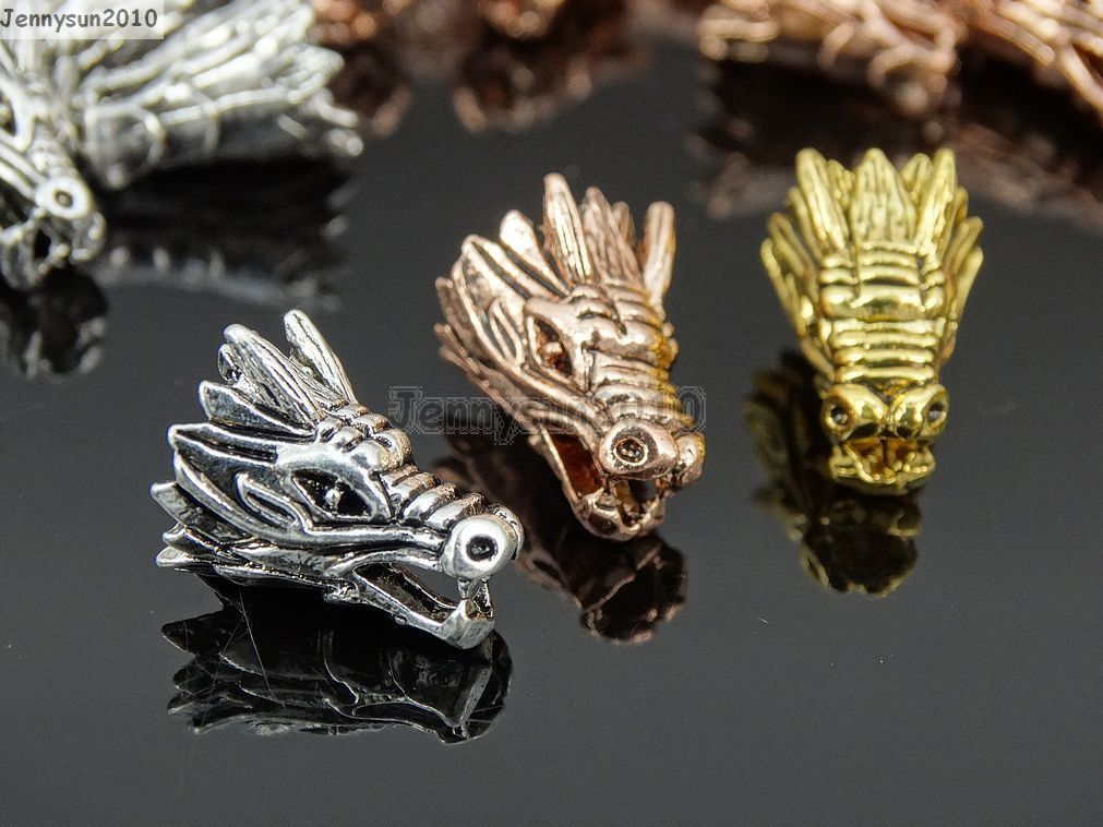 Solid Metal Dragon Head Bracelet Necklace Connector Charm