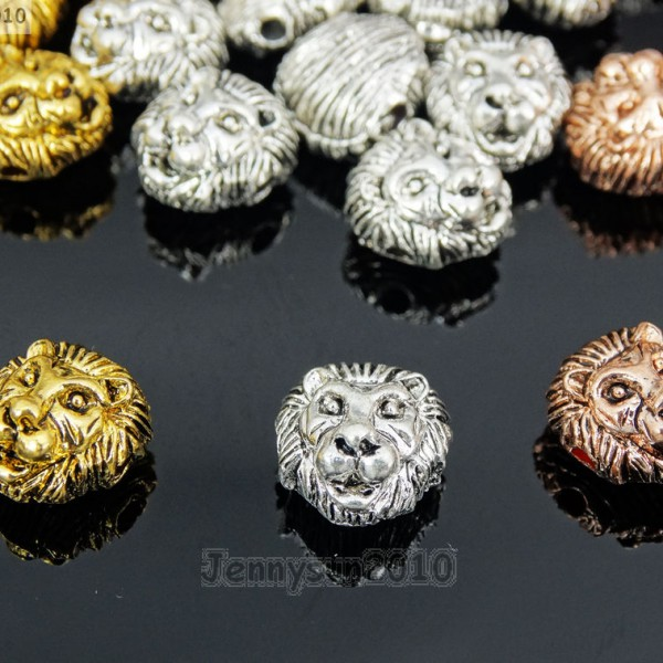 Solid-Metal-Lion-Head-Bracelet-Necklace-Connector-Charm-Beads-Silver-Gold-Rose-281632510934