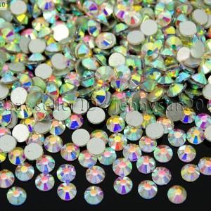 Top-Quality-Clear-AB-Crystal-Round-Rhinestones-Flatback-No-Hotfix-ss3-ss40-Pick-370874829264