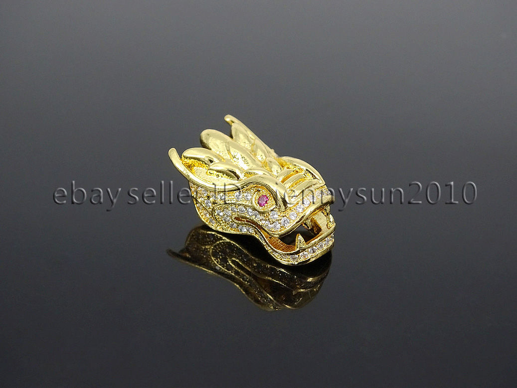 Zircon Gemstones Pave Dragon Head Bracelet Connector Charm
