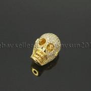 Zircon-Gemstones-Pave-Four-Holes-Skull-Bracelet-Connector-Charm-Bead-Silver-Gold-371673839622-18d2