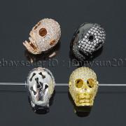 Zircon-Gemstones-Pave-Four-Holes-Skull-Bracelet-Connector-Charm-Bead-Silver-Gold-371673839622-2