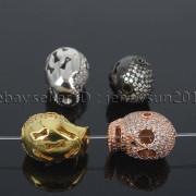 Zircon-Gemstones-Pave-Four-Holes-Skull-Bracelet-Connector-Charm-Bead-Silver-Gold-371673839622-3