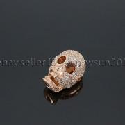 Zircon-Gemstones-Pave-Four-Holes-Skull-Bracelet-Connector-Charm-Bead-Silver-Gold-371673839622-3f2f