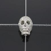 Zircon-Gemstones-Pave-Four-Holes-Skull-Bracelet-Connector-Charm-Bead-Silver-Gold-371673839622-4