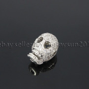 Zircon-Gemstones-Pave-Four-Holes-Skull-Bracelet-Connector-Charm-Bead-Silver-Gold-371673839622-e96f