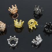 Zircon-Gemstones-Pave-Queen-Crown-Big-Hole-Bracelet-Connector-Charm-Beads-371878423265-3