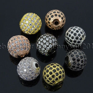 Zircon-Gemstones-Pave-Round-Ball-Bracelet-Connector-Charm-Beads-Silver-Gold-Rose-371664181227