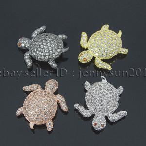 Zircon-Gemstones-Pave-Turtle-Bracelet-Connector-Charm-Beads-Silver-Gold-Gunmetal-262521090598